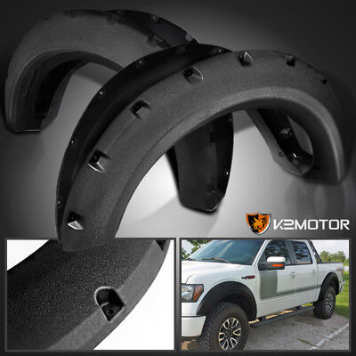Rugged Textured 2009-2014 Ford F150 Bolt On Pocket Rivet Style Fender Flares