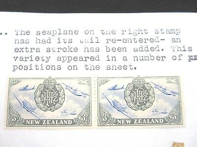 New Zealand 3 pence Peace seaplane tail MUH Low start L@@K