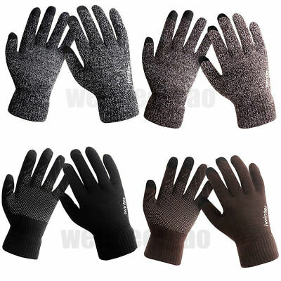 Pair Of Men Male Winter Warm Fleece Lined Thermal Knitted Gloves Touchscreen