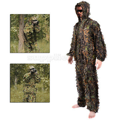 3D Leaf Ghillie Suit Woodland Camo Camouflage Clothing Jungle Hunting Sniper M/L