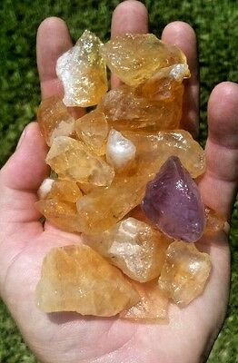 Gemstone Farmer: 1/2 Lb Yellow Golden Citrine Quartz Rough Crystals From Brazil