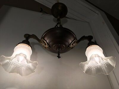 Antique Brass Pan Chandelier Mission Ceiling Light Fixture Art Craft VTG Shades