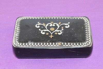 Antique 19th Century Inlaid Paper Mache Snuff Box with #1 Inside