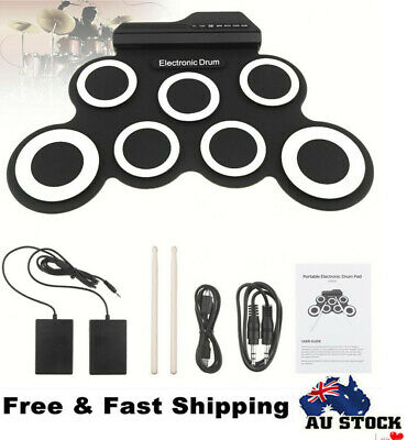Portable Electric Drum Set Record Stick Pad Silicone Roll Up Kit 7 Pad W/ Pedals