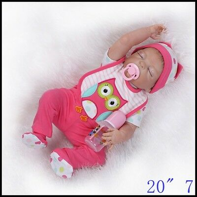 Realistic 23'' Reborn Baby Doll Full Body Silicone Vinyl Handmade Sleeping Girl