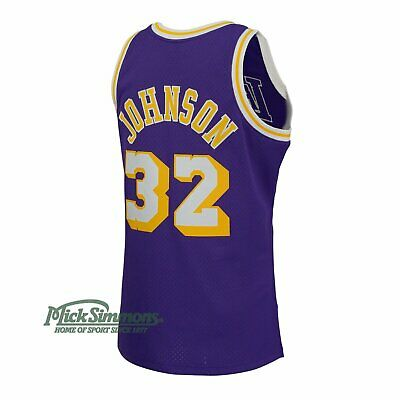 Los Angeles Lakers Magic Johnson 1984-85 Hardwood Classics Road Jersey by Mit...