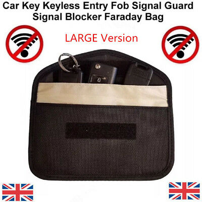 4X Car Key Keyless Entry Fob Signal Guard Blocker Faraday Bag - LARGE Version