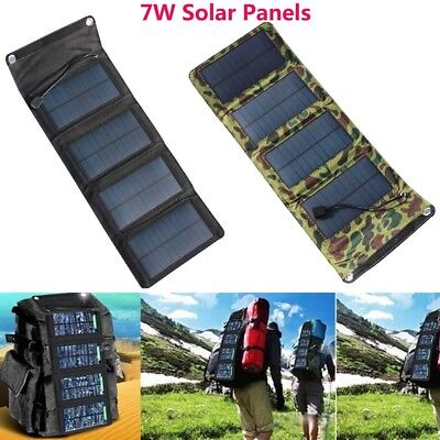 Portable 7W Solar Power Charger Panel Foldable Camping USB Battery Bag For Phone