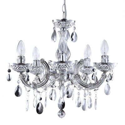 5 Lt Chandelier Silver Marie Therese Decorative Home Ceiling Light Litecraft
