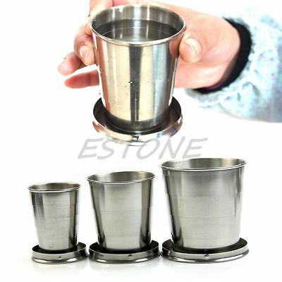L/M/S  Stainless Steel Portable Folding Telescopic Collapsible Outdoor Cup