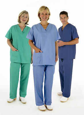 NHS Medical Compliant Reversible Scrub Suit Set,Tunic & Trousers Hospital Dental