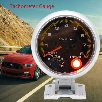 95mm 3.75'' Car REV Tachometer Carbon Fibre Tacho Gauge Counter 12V 0-8000 RPM