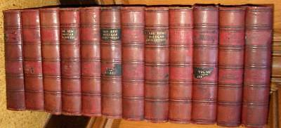 Joblot of 12 large vintage leather-bound books for display etc.