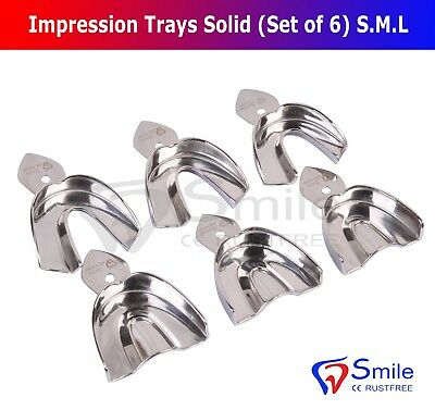 Dental Impression Trays Rim Lock Non-Perforated (Set of 6) S.M.L Upper/Lower CE