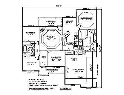 House Plans for 1630 Sq. Ft. 3 Bedroom House w/Garage
