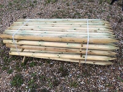 40 x Round Timber Fence Posts Flat End Full UK FREE DELIVERY