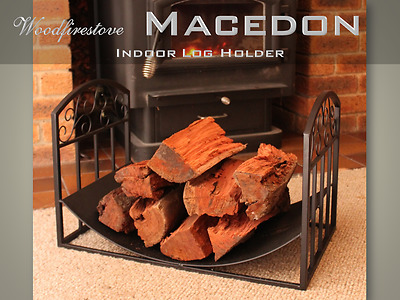 FIREPLACE ACCESSORIES MACEDON Curved Indoor Log Holder / WOOD STORAGE RACK