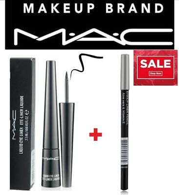 Mac  Black Liquid Eyeliner  2.5ml with box +BLACK EYELINER PENCIL FOR FREE