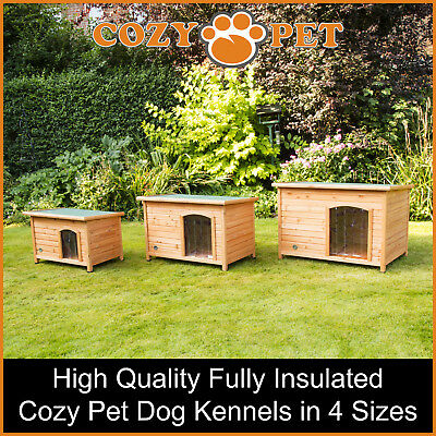 Cozy Pet Insulated Dog Kennels 3 Sizes Wooden Puppy Kennel House Removable Floor