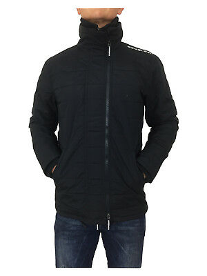 // SALE // Superdry Mens Quilted Athletic Windcheater Jacket Eclipse Navy/Black