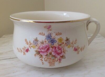 Crown Devon Fielding England Chamber Pot Floral Gold Trim