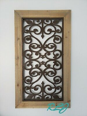 Distressed Antique Vintage French Country Wood Metal Scroll