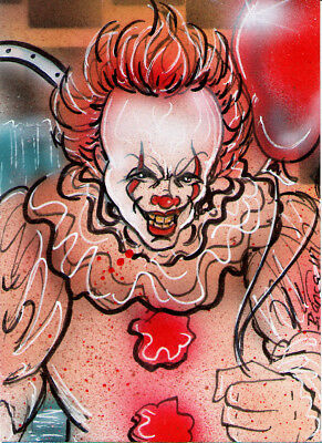 Stephen Kings New IT Original PENNYWISE Sketch Card Painting by Bianca Thompson