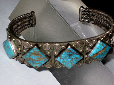 Vintage Perry Shorty Navajo Sterling Twisted Wire 5 Turquoise Stone Bracelet