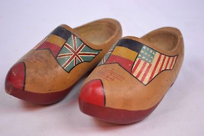 Antique Hand Carved Hand Painted Wooden Child's Shoes Clogs Belgium 1944