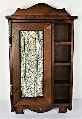 Wood Medicine Wall Cabinet Original Curtain With Tag Vintage