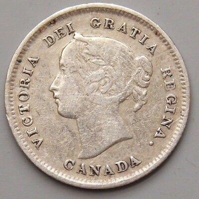 1899 Canada Canadian Old 5 Cent Silver Coin Queen Victoria