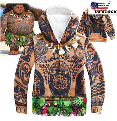 2018 Boys Moana Maui Fleece Zipper Hoodie Sweatshirt Jacket Winter Coat  O23