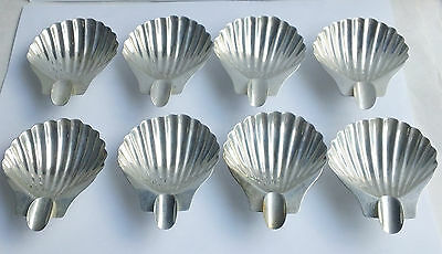 Set Of 8 Small Vintage  Sterling Silver Footed Shell Ashtray Mexico 178 G