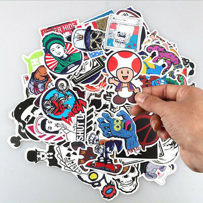 1 Set 50pc Skateboard Sticker Skate Graffiti Laptop Luggage Car Bomb Vinyl Decal