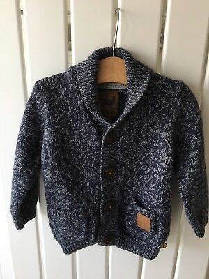 Baby Boy's Clothes 12-18 Months - Navy White Fleck Knitted Cardigan By M&S