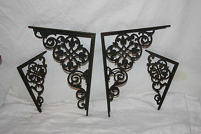 4 Antique Cast Iron Matching Decorative Floral Celtic Knot Shelf Brackets