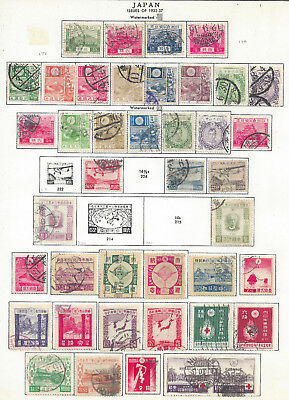 Japan 1922+ Early lot of 41 used stamps lightly hinged on album page - See scans