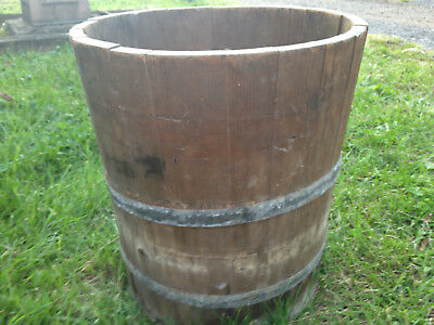 Antique Wood & Iron Barrel Bucket Solid & Strong