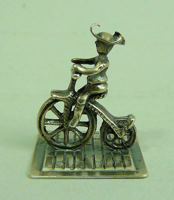 Antique Dutch Silver Miniature Figure Of A Man On A Penny Farthing