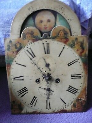 Antique 8 Day Moon Dial Grandfather Clock Movement For Restoration.
