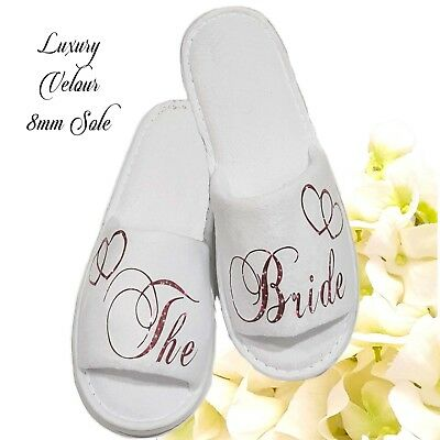Personalised Wedding Bride Bridesmaid Bridal Slippers Sparkling Romantic Red