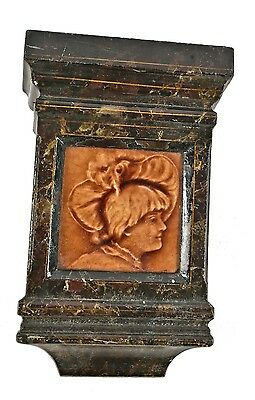 Faux Marble Cast Iron Fireplace Keystone With Original Majolica Figural Tile