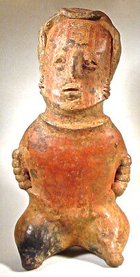 Pre-Columbian Nayarit Seated Figure Mexico Ex: Sotheby's 1977