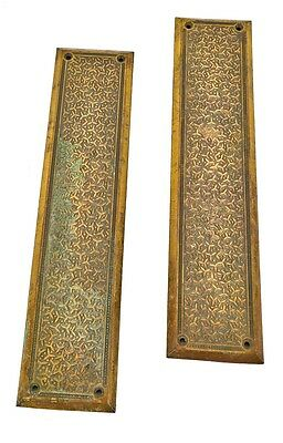 "Pair Of Cast Bronze ""rice"" Pattern Interior Residential Push Plates"
