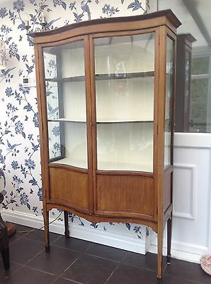 Antique Edwardian Serpentine Glass Fronted Display Cabinet