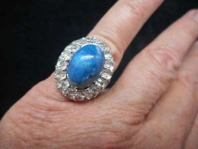Authentic Vintage-1950's Silver Tone Domed Rhinestone Ring 5.5