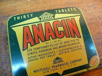 Vintage Advertising Tin , Anacin Travel Case, Aspirin Medicine