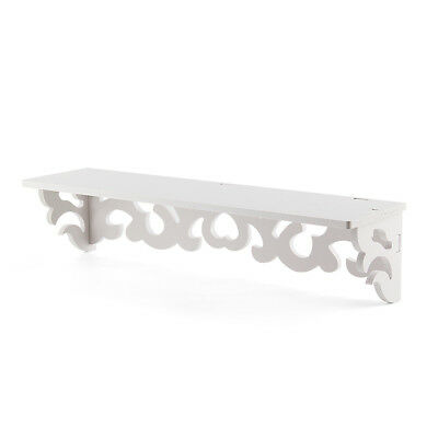 Set of 2 White Shabby Chic Filigree Style Shelves Cut Out Design Wall O6W3