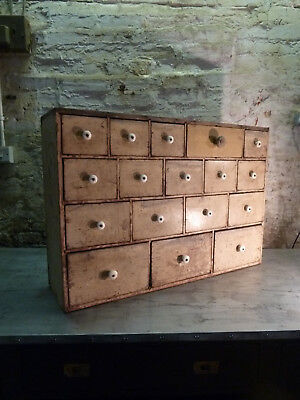 19th Century Pine Apothecary Drawers Vintage Industrial Victorian