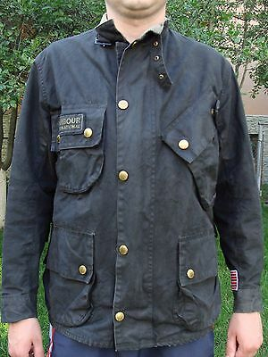 Barbour- A7 International Waxed Cotton Jacket-Made In England-Size C38/97Cm